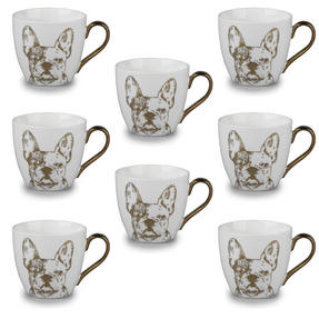 Cambridge CM05045 Kendal Gold Bulldog Fine China Mug Set of 8 Thumbnail 1