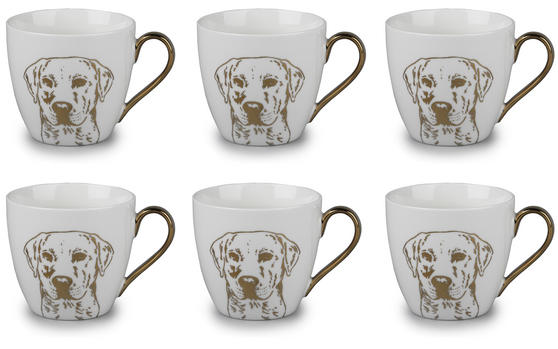 Cambridge CM05047 Kendal Gold Labrador Fine China Mug Set of 6
