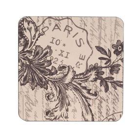 Inspire TW290373 Luxury Amelie Coasters, 10 x 10cm, Hardboard, Natural, Set of 4
