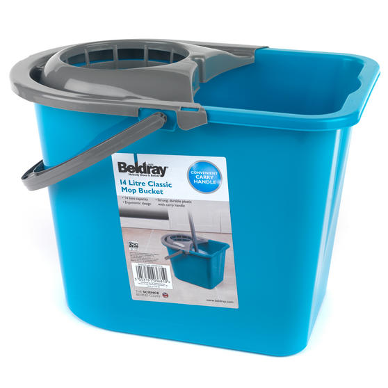 Beldray Large Mop Bucket with Mop Wringer, 14 Litre, Turquoise Thumbnail 2