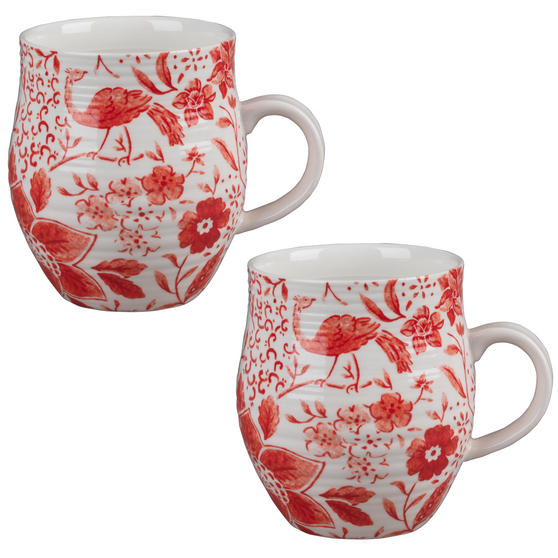Portobello CM04381 Anglesey Paradise Red Stoneware Mug Set of 2