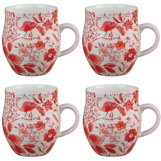 Portobello CM04381 Anglesey Paradise Red Stoneware Mug Set of 4
