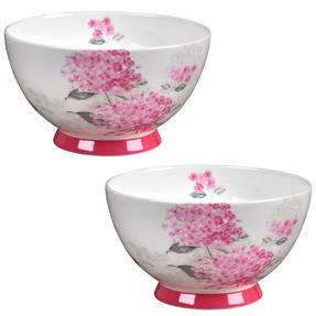 Portobello CM04468 Footed Ami Pink Bone China Bowl Set of 2