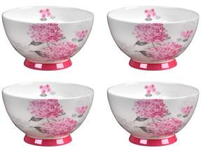Portobello CM04468 Footed Ami Pink Bone China Bowl Set of 4