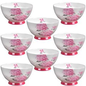 Portobello CM04468 Footed Ami Pink Bone China Bowl Set of 8