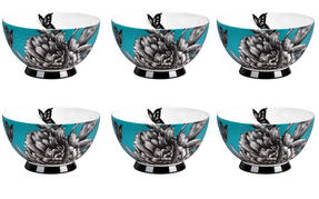Portobello CM04473 Footed Zen Garden Teal Bone China Bowl Set of 6