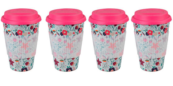 Cambridge CM04436 Bamboo Poppy Flowers Travel Mug Set of 4