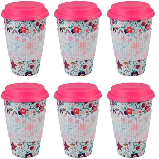 Cambridge CM04436 Bamboo Poppy Flowers Travel Mug Set of 6