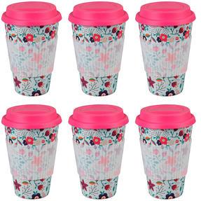 Cambridge CM04436 Bamboo Poppy Flowers Travel Mug Set of 6 Thumbnail 1