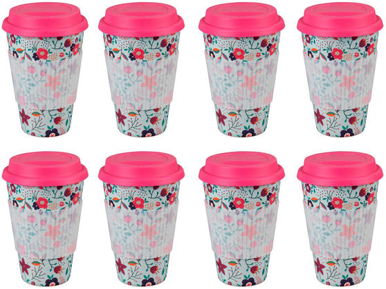 Cambridge CM04436 Bamboo Poppy Flowers Travel Mug Set of 8
