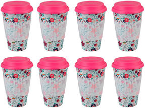 Cambridge CM04436 Bamboo Poppy Flowers Travel Mug Set of 8 Thumbnail 1