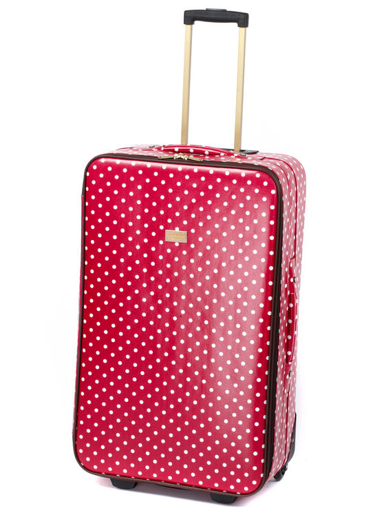 """Constellation Suitcase Travel Trolley, 28"""", Berry Polka Dot"""