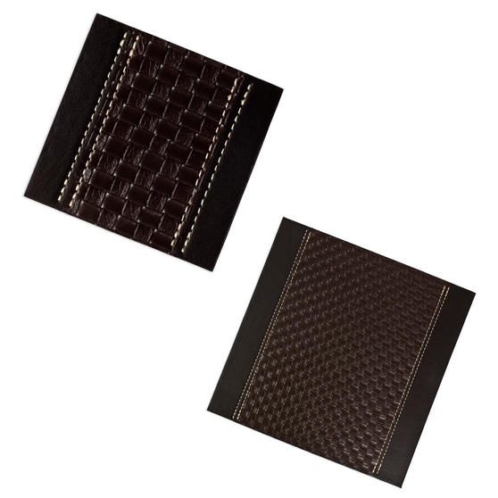 Inspire Set of 4 Brown Faux Leather Tram Weave Placemats and Coasters