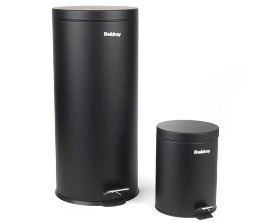 Beldray LA038050BLK 30 Litre and 5 Litre Round Black Pedal Bin Set