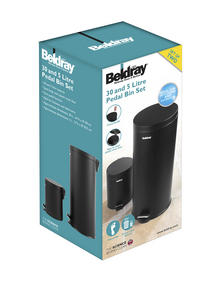 Beldray LA038050BLK 30 Litre and 5 Litre Round Black Pedal Bin Set Thumbnail 2