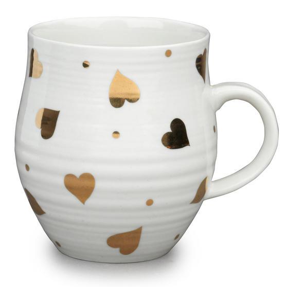 Portobello CM04932 Anglesey Gold Reflective Heart Stoneware Mug