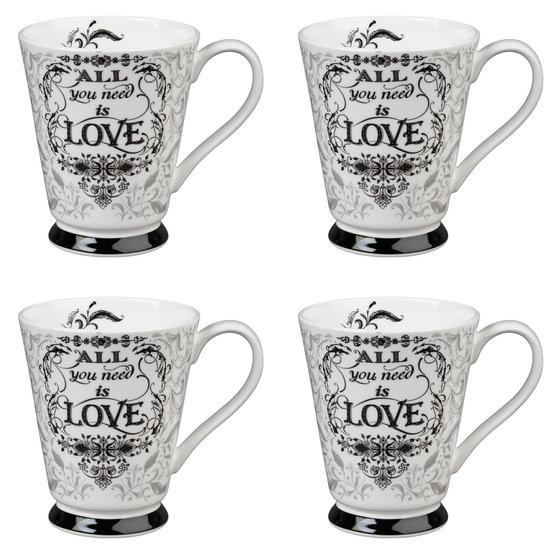 Portobello CM05008 Buckingham All You Need Is Love Bone China Mug Set of Four