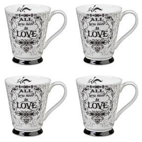 Portobello CM05008 Buckingham All You Need Is Love Bone China Mug Set of Four Thumbnail 1
