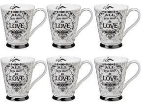 Portobello CM05008 Buckingham All You Need Is Love Bone China Mug Set of Six Thumbnail 1