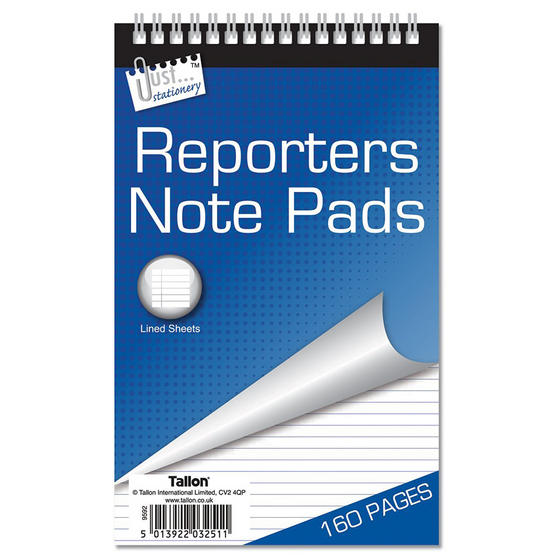 Just Stationery 3251/96 160 Page Reporter Notepad