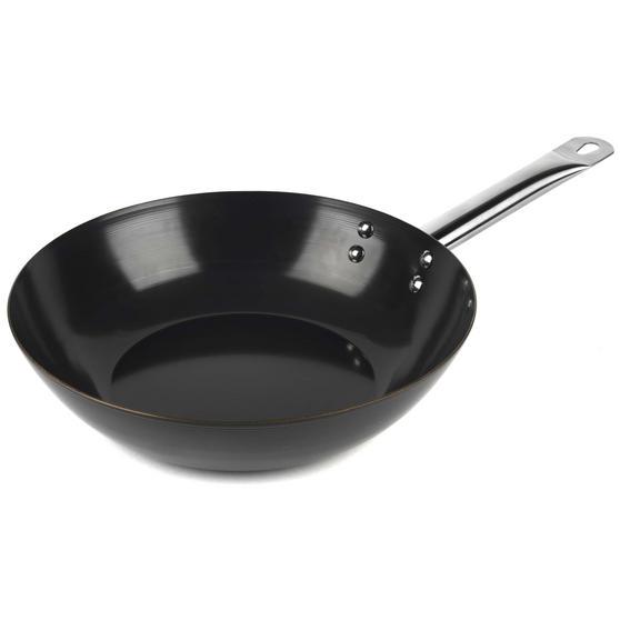 Russell Hobbs BW05468BS Infinity Preseasoned Carbon Steel Wok, 28 cm, Black