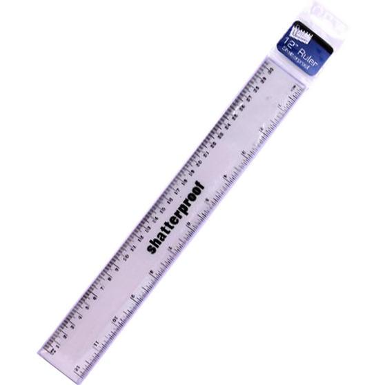 Just Stationery 6072/72 12 inch Metallic Shatterproof Ruler