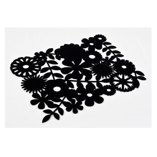 Inspire Laser-cut Floral Placemat, 40 x 35cm, Felt, Black