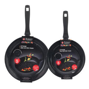 Russell Hobbs Stone Collection Set of 2 Frying Pans, 24/28cm, Black Thumbnail 4