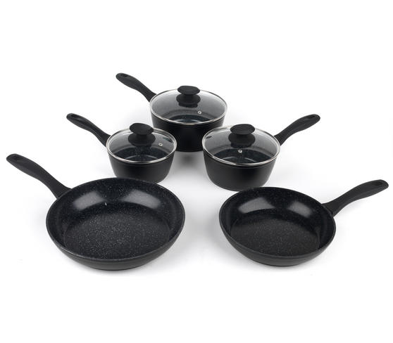Russell Hobbs Stone Collection 3 Piece Saucepan Set with 24/28cm Frying Pans, Black