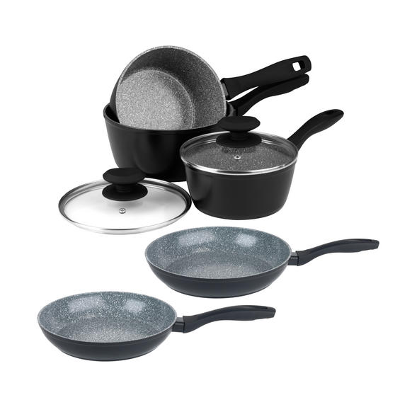 Russell Hobbs Stone Collection 3 Piece Saucepan Set with 24/28cm Frying Pans, Grey