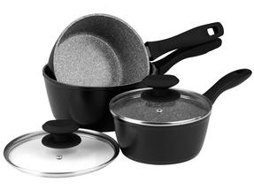 Russell Hobbs Stone Collection 3 Piece Saucepan Set with 24/28cm Frying Pans, Grey Thumbnail 2