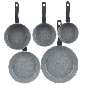 Russell Hobbs Stone Collection 3 Piece Saucepan Set with 24/28cm Frying Pans, Grey Thumbnail 4