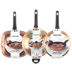 Salter Copper Effect 3 Piece 28cm Frying Pan, Wok and Griddle Pan Set Thumbnail 5