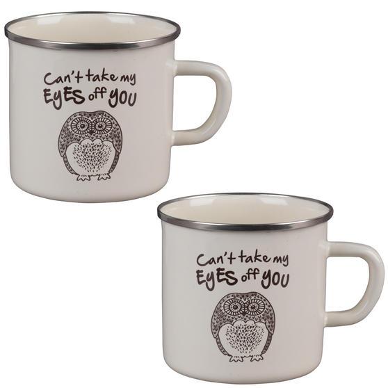 Cambridge BW0397508 Enamel Owl Eyes Mug Set of 2