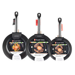 Russell Hobbs Infinity 24/28cm Frying Pans with 28cm Wok, Black Thumbnail 4