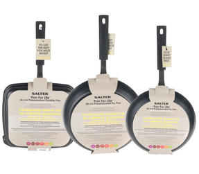 Salter Pan For Life 24/28cm Frying Pans with 26cm Griddle Pan, Black Thumbnail 5