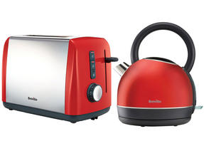 Breville Colour Collection Kettle and 2 Slice Toaster Set, Red