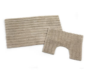 Beldray LA038975 2 Piece Latex Backed Striped Natural Bathroom Mat Set