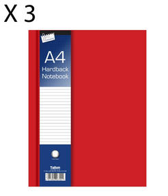 Just Stationery 6700 A4 Ruled Hardback Notebook, Pack of 3