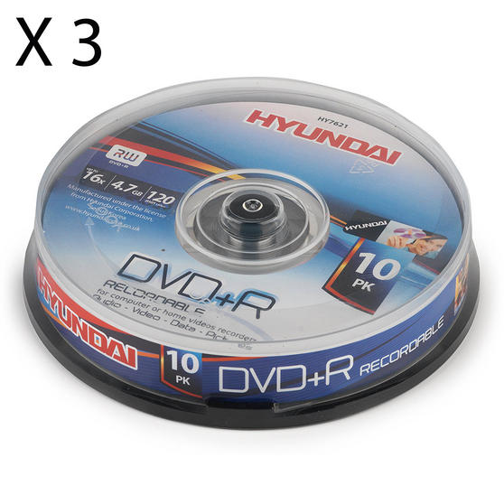 Hyundai HY7621 DVD + R Recordable Disc, 4.7GB, Pack of 30