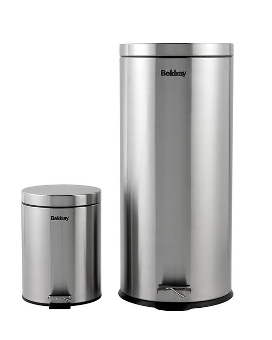 Beldray LA038050SS 30 Litre and 5 Litre Round Pedal Bin Set, Stainless Steel