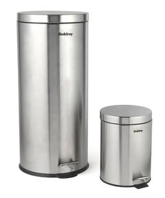 Beldray LA038050SS 30 Litre and 5 Litre Round Pedal Bin Set, Stainless Steel Thumbnail 2