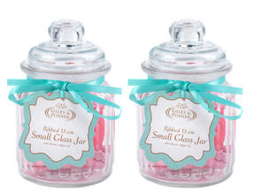 Giles & Posner QCJ186750 Small Ribbed Glass Candy Jar Set of 2