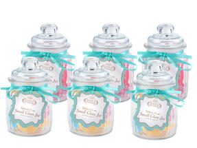 Giles & Posner QCJ186750 Small Ribbed Glass Candy Jar Set of 6