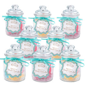 Giles & Posner QCJ186750 Small Ribbed Glass Candy Jar Set of 8