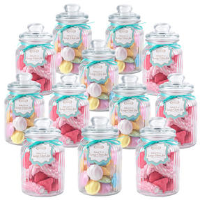 Giles & Posner QCJ186699 Large Ribbed Glass Candy Jar Set of 12