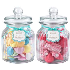 Giles & Posner QCJ186675 Extra Large Ribbed Glass Candy Jar Set of 2