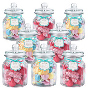 Giles & Posner QCJ186675 Extra Large Ribbed Glass Candy Jar Set of 8