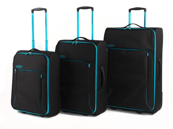 "Constellation Superlite Luggage Set, 18"", 24"" & 28, Black/Turquoise"
