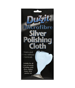 Duzzit DZT1012 Multipurpose Microfibre Silver Polishing Cloth, Machine Washable, 30 x 25cm